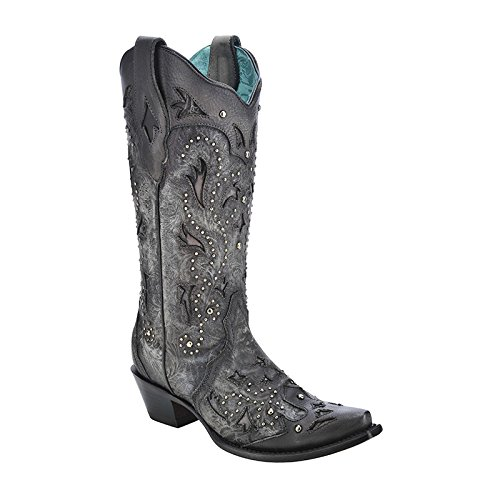 Corral Mujeres Black Studded Snip Toe Cowgirl Bota C3043