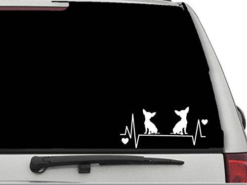 Decals USA Chihuahuas Heartbeat Lifeline 4 Decal Sticker for Car and Truck Windows and Laptops