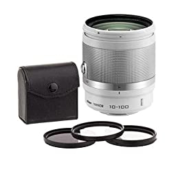 Nikon 1 10-100mm f/4.0-56 VR Lens- White -BUNDLE- See Below for details