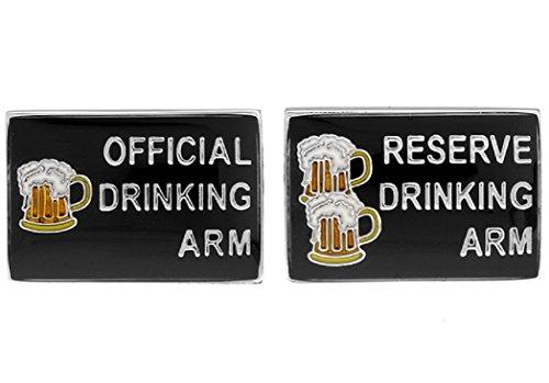 MRCUFF Official Drinking Arm Drink Bar Pair Cufflinks in a Presentation Gift Box & Polishing Cloth ()