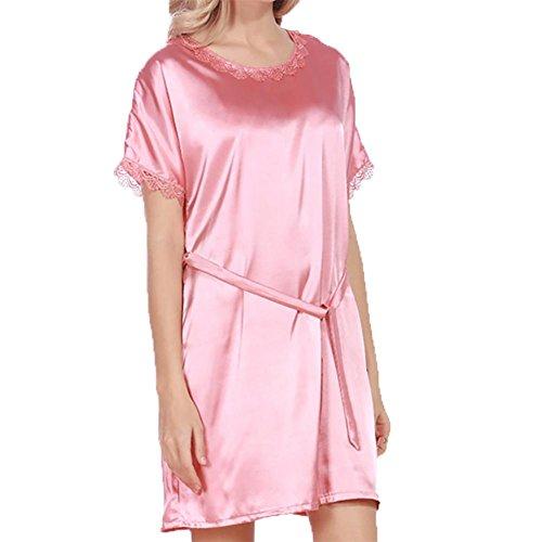 YUYU Frauen Seide Pyjamas Sommer Kurze Ärmel Mode Weiche Um den Hals Nachthemd Zwei Farben , coral red