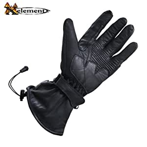 Xelement XG815 Mens Black Leather Motorcycle Winter Gloves - Large