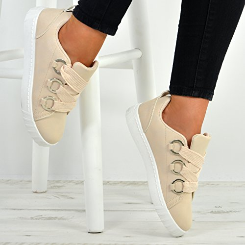 Size Sneakers Fashion Plimsolls Slip Trainers UK Up Lace Cucu Flat Womens Shoes New on Beige Ladies 04UOq