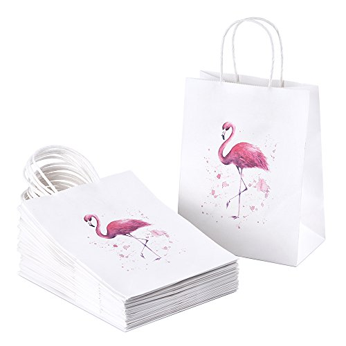 BagDream 25Pcs Paper Gift Bags with Handles Flamingo Heavy Duty Paper Bags, Shopping Bags, Party Bags, Retail Bags, Merchandise Bags, Wedding Bags, Craft Bags, 8x4.25x10 Inches Medium Kraft Bags -