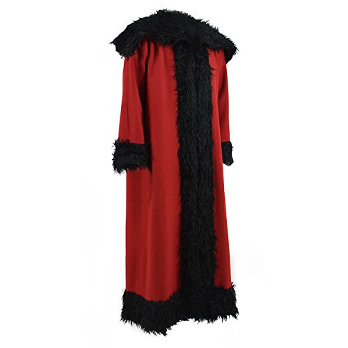 TISEA Men's Father Christmas ALEC Baldwin Cosplay Coat Guardians Santa Claus Cosplay Costume Halloween Outfit (L, Red+ Black)