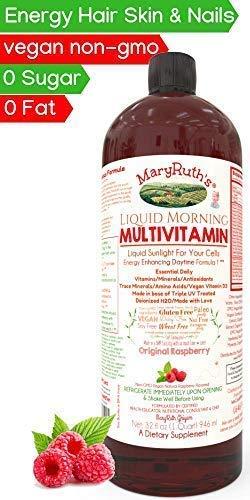 Morning Liquid Vitamins by MaryRuth (Raspberry) Vegan Multivitamin A B C D3 E Trace Minerals & Amino Acids for Energy