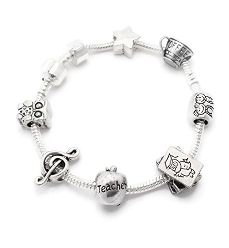 - Teacher Gift Silver Charm Bracelet With Charms Gift Boxed 20cm