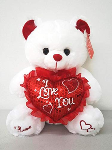 """White 12"""" Plush Teddy Bear with """"I Love You"""" Heart Pillow"""