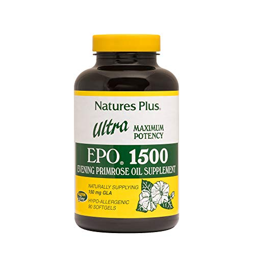 Natures Plus Ultra EPO – 1500 mg Evening Primrose Oil, 90 Softgels – Hormone Balance Supplement, Promotes Healthy, Clear Skin, Anti Aging, Antioxidant – Gluten Free – 90 Servings For Sale