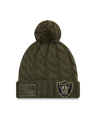 New Era Women 2018 Salute to Service Sideline Cuffed Knit Hat – Olive (Oakland Raiders) ()
