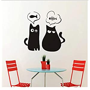 Buzdao Lovely Cat Fishbone Wall Stickers for Living Room Home Decor Accessories Cartoon Animals Wall Decals Mural Art Wall Paper