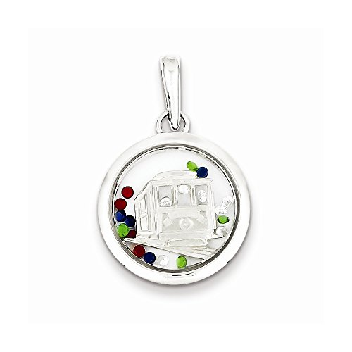 Sterling Silver Cable Car And Floating Glass Beads Pendant