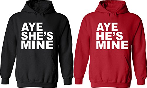 Aye He & She Is Mine - Matching Couple Hoodies - His and Her Love Sweaters (Cute Couple Outfits)