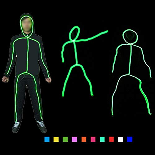 DHTW&R Creative Lights Up Stick Figure Man Glowing Clothes El Cold Light Fluorescent Dance Costume Night Show Battery Powered Masquerade Party -