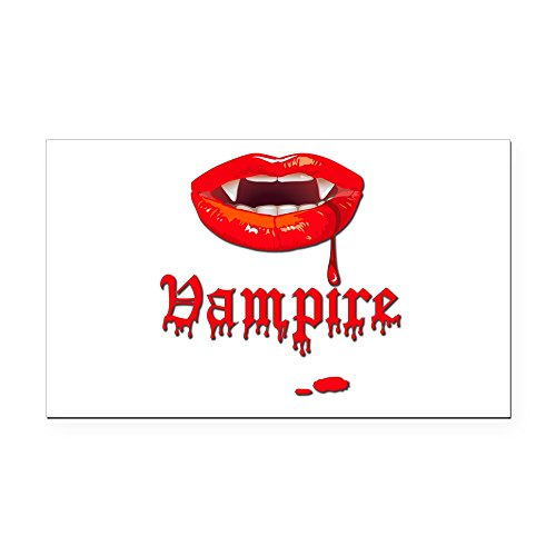 Rectangle Car Magnet Vampire Fangs (Vampire Rectangle Magnet)