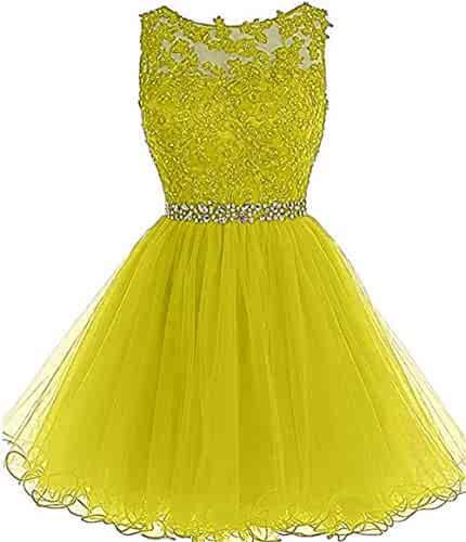 91909a2a6d Dydsz Women s Short Prom Dress Homecoming Dresses Beaded Appliques Party  Cocktail Gown D126