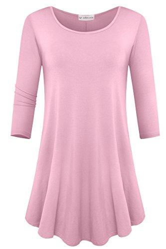 JollieLovin Womens 3/4 Sleeve Loose Fit Swing Tunic Tops Basic T Shirt (Pink, 1X)