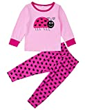 AIDEAONE Ladybug Girls Pajamas Long Sleeve Cotton Sleepwear Clothes for Kids Size 2-3 Years