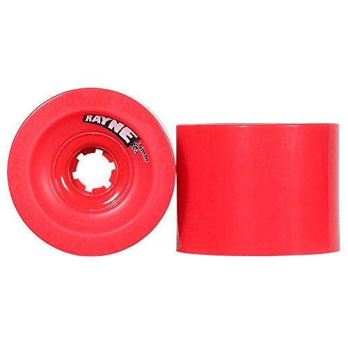Rayne Lust 75mm 80A Longboard Wheels Red, Square-Lipped Center-Set Urethane Longboard Skateboard Wheels, Smooth Finish for Firmer Grip, Slide Thane for Butter Slides, Ideal for Slalom or Fast Carving