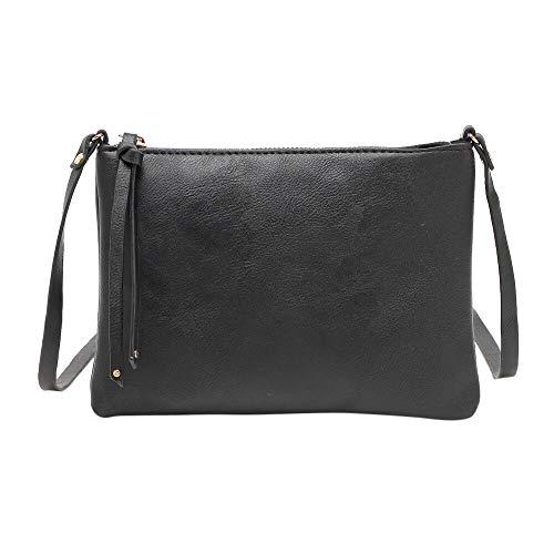 - Clearance Sale! ZOMUSAR Women's PU Leather Pure Color Wristlet Clutch Phone Wallet Mini Crossbody Purse Bag with Card Slots (Black)