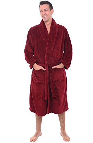 Del Rossa Mens Fleece Robe, Shawl Collar Bathrobe, 1XL 2XL Burgundy (A0114WNE2X)