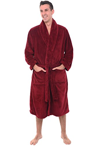 Alexander Del Rossa Men's Warm Fleece Robe, Plush Bathrobe, Small Medium Burgundy (A0114WNEMD) (Best Plush Robes For Men)