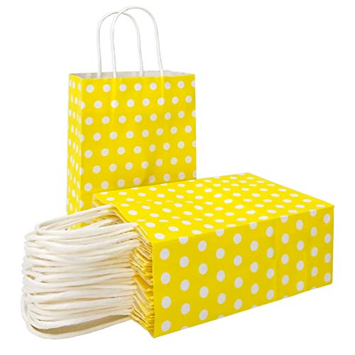 Yellow Paper Gift Bags with Handles Polka Dot Paper Party Favor Bags for Kid's Birthday Wedding Holiday Party Supplies by ADIDO EVA(8.2 x 6 x 3.1 in 25 PCS Yellow)