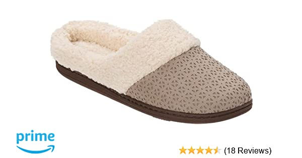 7b2849f1c313 Amazon.com | Dearfoams Women's Perforated Microsuede Clog Slipper (X-Large,  French Taupe) | Slippers