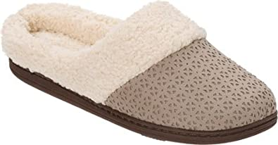 60d68f9353db Dearfoams Women's Perforated Microsuede Clog Slipper (X-Large, French Taupe)