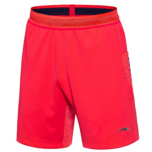 LI-NING ATDRY Men Competition Badminton Shorts National Team Regular Fit Professional Sports Shorts Red AAPN029 M