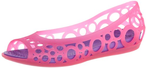 Croc Peep Toe - Crocs Adrina Girls GS Flat (Little Kid/Big Kid),Hot Pink/Neon Purple,6 M US Big Kid