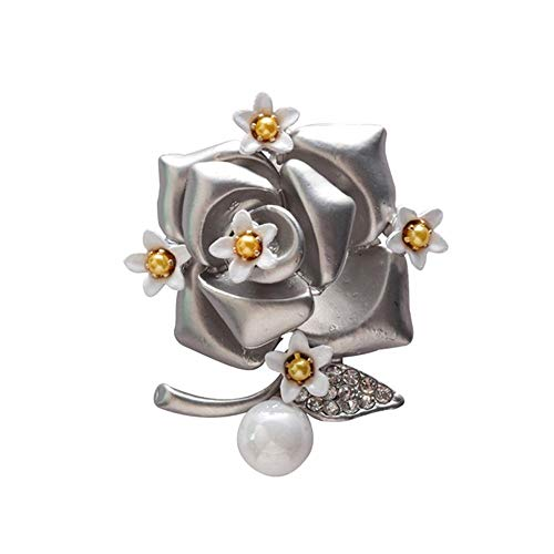 Sxuefang Retro Floral Rose Pearl Set with Diamond Brooch Set with Pearl