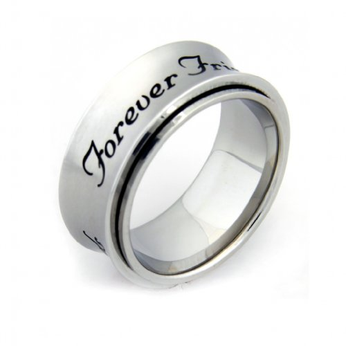 Forever Friends Spinner Ring - Friendship Ring - BFF Ring - Stainless Steel Ring - Couples Ring - Poesy Ring ()