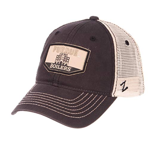 Zephyr NCAA Purdue Boilermakers Men's Trademark Relaxed Cap, Adjustable, Washed Team/White