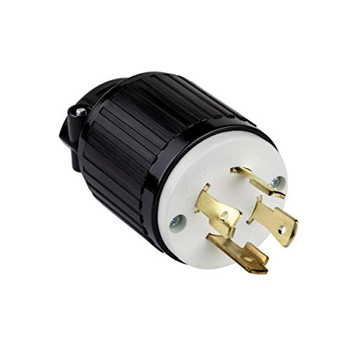 ENERLITES Industrial Grade 30A 125/250V Locking Plug, NEMA L14-30P, 3P, 4W, 66470-BK, Black