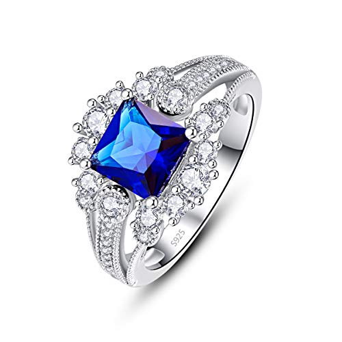 PAKULA 925 Sterling Silver Women Princess Cut Simulated Blue Sapphire Quartz Halo Engagement Ring Size 6