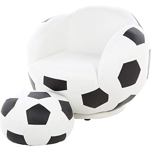 Casual Style Soccer Ball Kids Novelty Chair with Rounded Arms and Ottoman 19.5'' H x 24.75'' W x 26'' D by Wildon Home