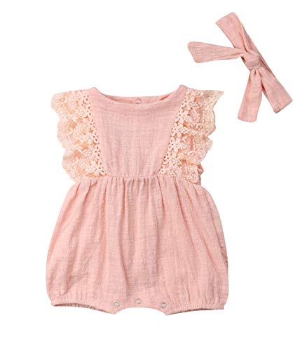 - Newborn Infant Baby Girl Ruffle Sleeveless Lace Romper Bodysuit Jumpsuit with Headband Outfit Sunsuit Clothes Pink (Pink 6-12 Months)