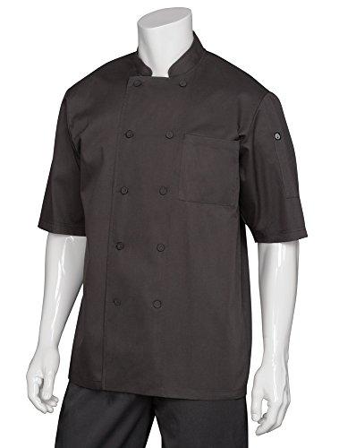Chef Works Men's Montreal Cool Vent Chef Coat, Black, Medium (Black Chef Coat)