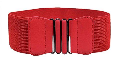 (VOCHIC Wide Elastic Plus Size Belt for Women Cinch Waist Belt Stretch Waistband, Red, S-M(25