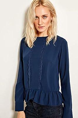 LFMDSY Camisa de Mujer Elegante Informal Azul Marino Detalle de Encaje Blusa TOFAW19XV0001 34 Azul Marino: Amazon.es: Deportes y aire libre