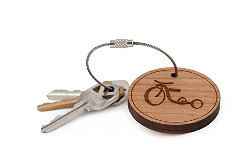 Tricycle Keychain, Wood Twist Cable Keychain - Small