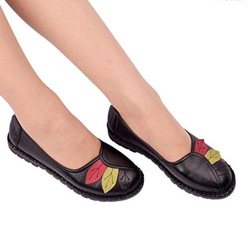 Btrada Dames Comfortabele Loafers Stuiver Schoenen Kleurrijk Blad Rijden Mocassins Casual Instapper Platte Schoenen Zwart