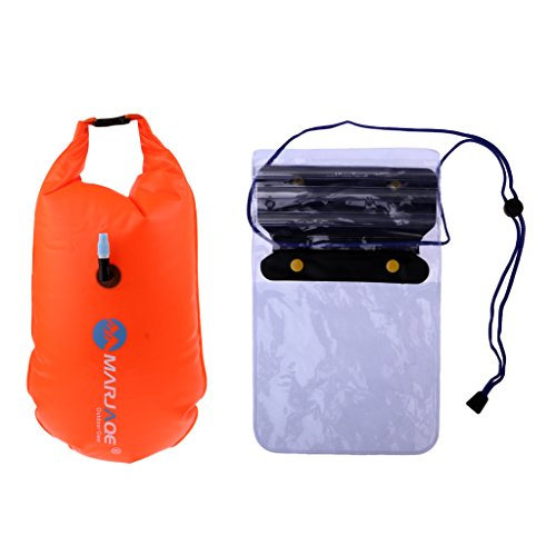 Baosity Inflatable Swim Safety Tow Float Dry Bag Sack Orange + Anti-water Phone Case Cover for Water Sports by Baosity