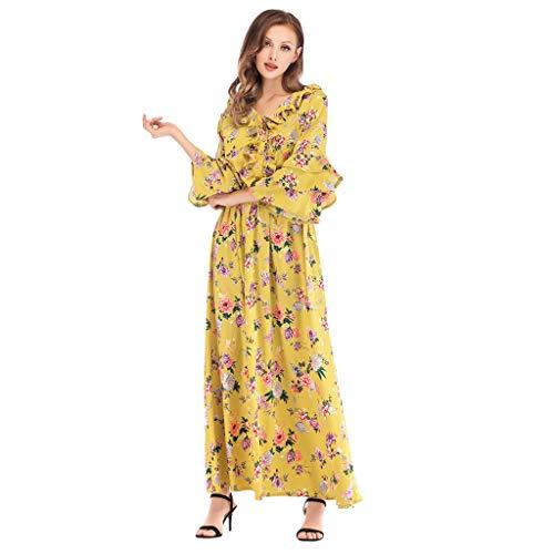 HYIRI Women's Muslim Moroccan Kaftan Turkish Elegant Jilbab Dubai Kaftan Robe Islamic Yellow]()