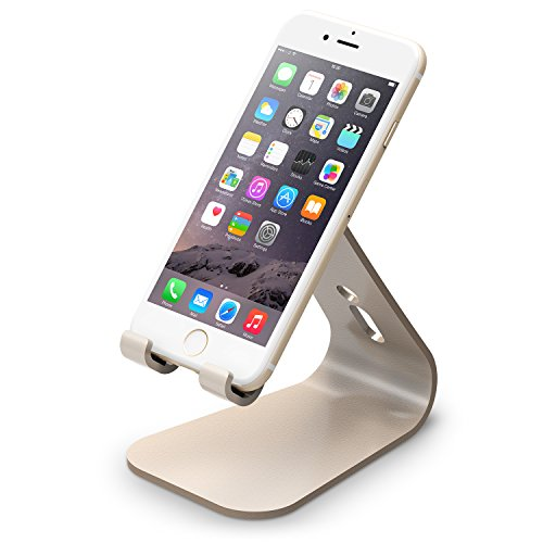 elago M2 Stand [Champagne Gold] - [Premium Aluminum][Angled for Video Calls][Cable Management] - for all iPhones, Galaxy, and other Smartphones