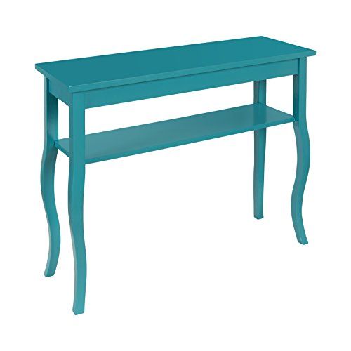 Kate and Laurel Lillian Wood Console Table with Decorative Curved Legs and Shelf, Teal (Decorating A Sofa Table Behind A Couch)