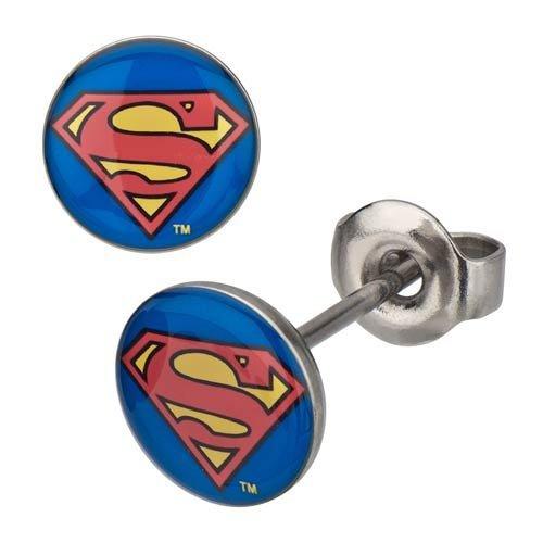 DC Comics Unisex Superman Logo Stainless Steel Stud Earrings