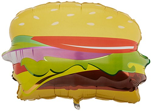 Betallic 15462 Hamburger Shape Foil Flat Balloon, 28