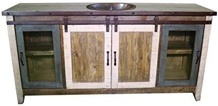 70 Inch Distressed Multi Color Farmhouse Sliding Barn Door Single Sink Bathroom Vanity Fully Assembled With Copper Drop In Sink Installed 70 Inch, Multi